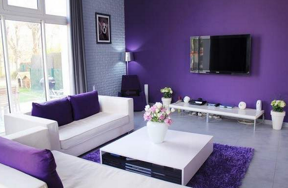 d coration salon gris violet. Black Bedroom Furniture Sets. Home Design Ideas