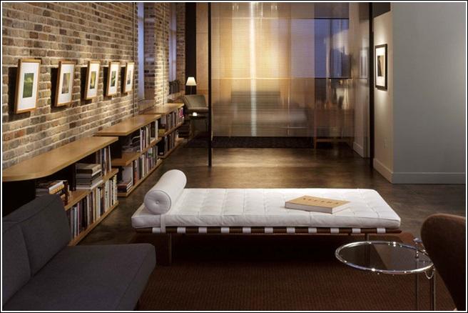 d coration salon mur de brique. Black Bedroom Furniture Sets. Home Design Ideas
