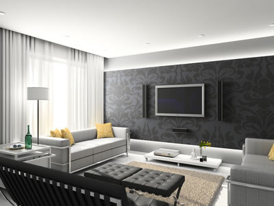 d coration salon noir et gris. Black Bedroom Furniture Sets. Home Design Ideas