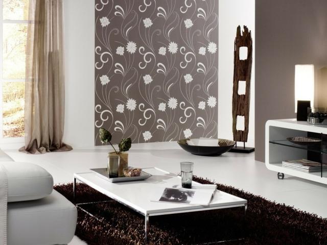 d coration salon papier peint. Black Bedroom Furniture Sets. Home Design Ideas