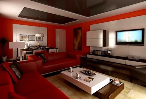 Univers Décoration Salon Rouge Et Beige