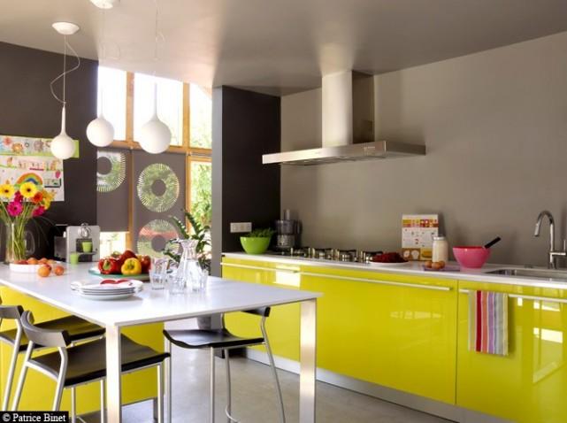 decoration cuisine gris et jaune. Black Bedroom Furniture Sets. Home Design Ideas