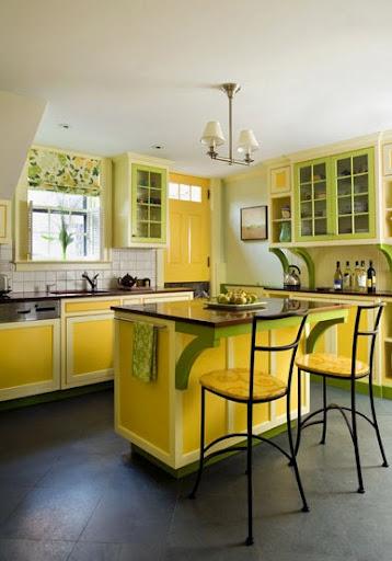 decoration cuisine jaune orange. Black Bedroom Furniture Sets. Home Design Ideas