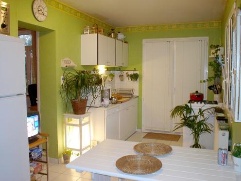 exemple decoration cuisine orange et vert