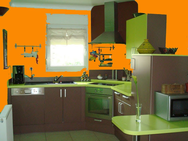 decoration cuisine orange et vert