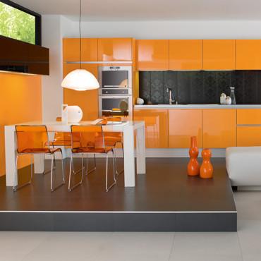 decoration cuisine orange marron