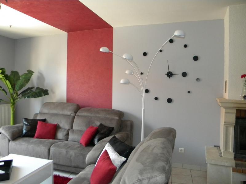 Jolie decoration salon noir blanc et rouge