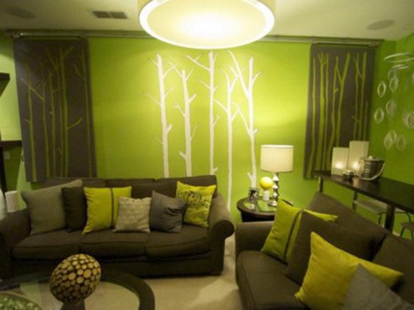 univers decoration salon vert et marron