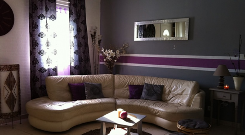 Decoration salon violet et gris - Decoration salon mauve et gris ...