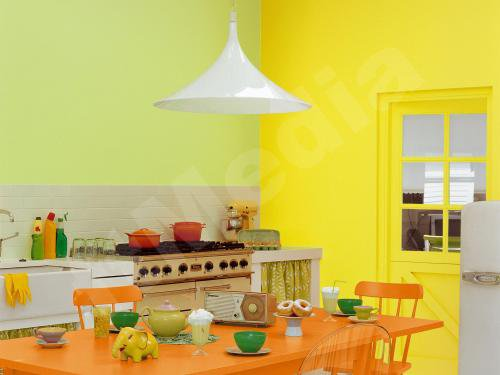 D co cuisine jaune et orange for Deco cuisine gris et orange