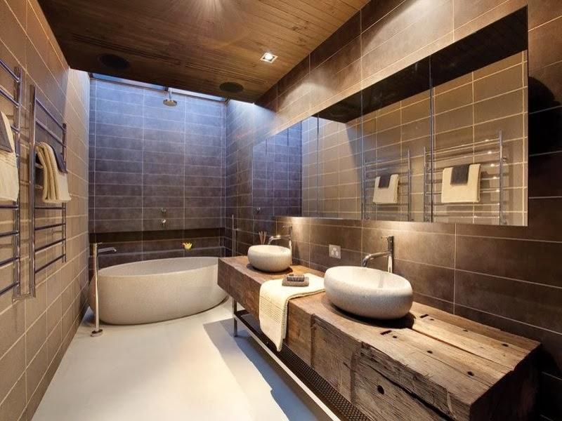 belle déco salle de bain avec baignoire d\'angle