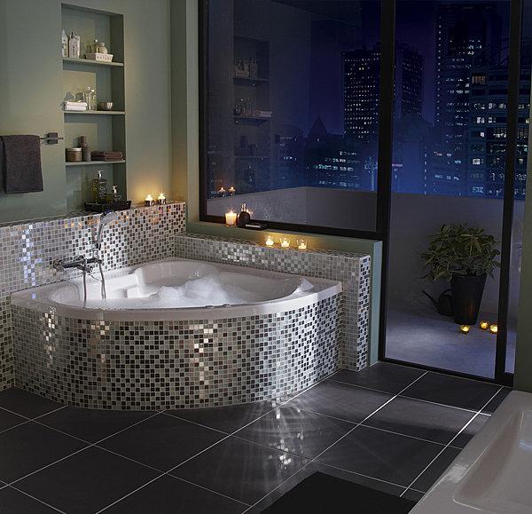 aménagement déco salle de bain avec baignoire d\'angle