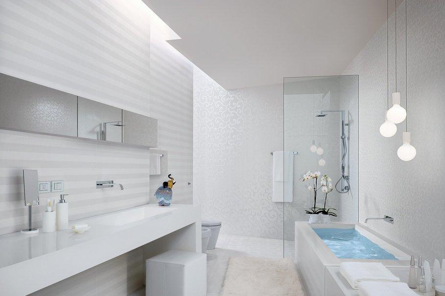 Azulejos Baño Horizontal O Vertical:modèle déco salle de bain blanche
