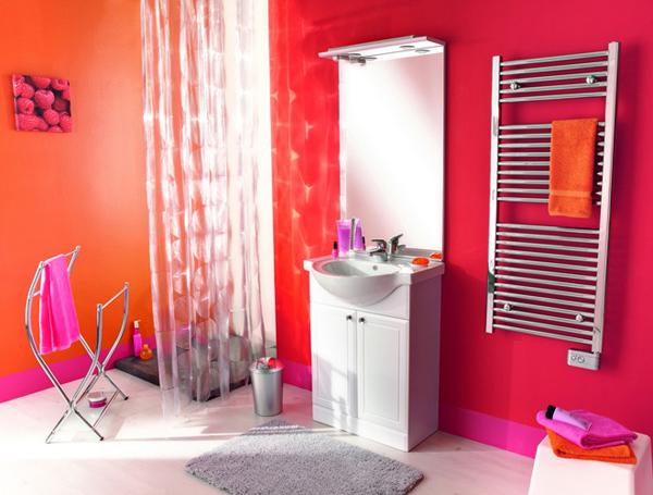 D co salle de bain color e for Salle de bain papier peint