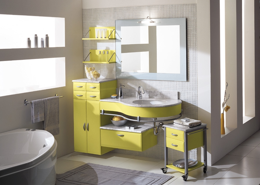 d co salle de bain jaune et gris d co sphair. Black Bedroom Furniture Sets. Home Design Ideas