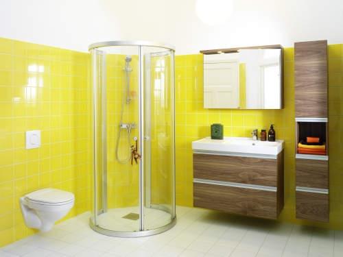 univers déco salle de bain jaune et gris - Photo Déco