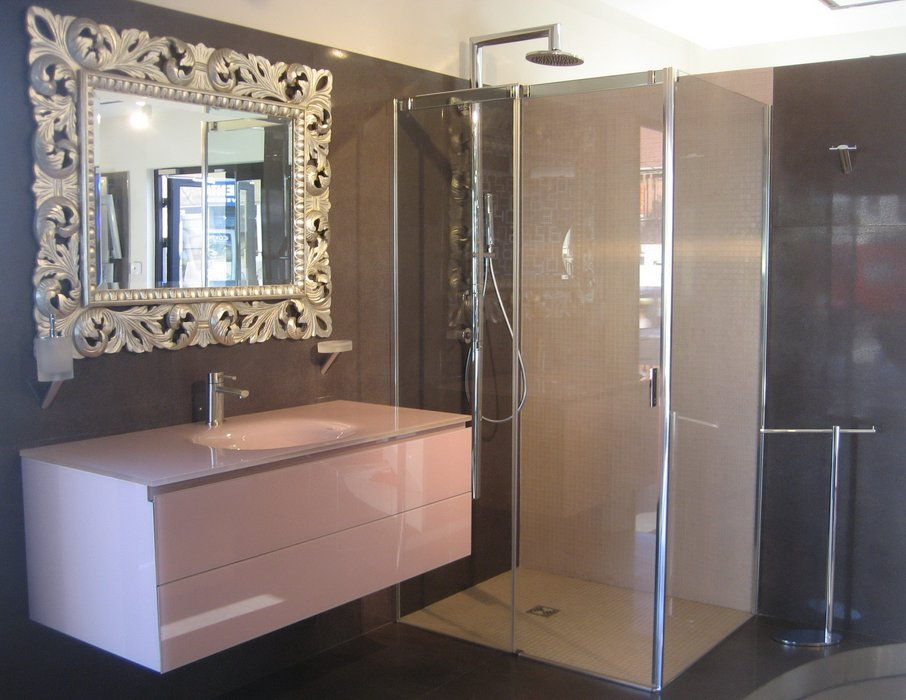 D co salle de bain marron et beige for Amenagement deco