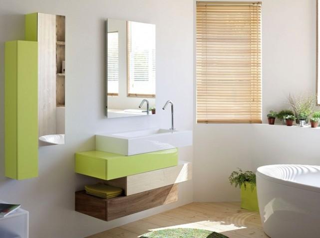 organisation déco salle de bain vert bambou