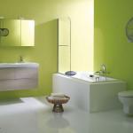 déco salle de bain vert et gris
