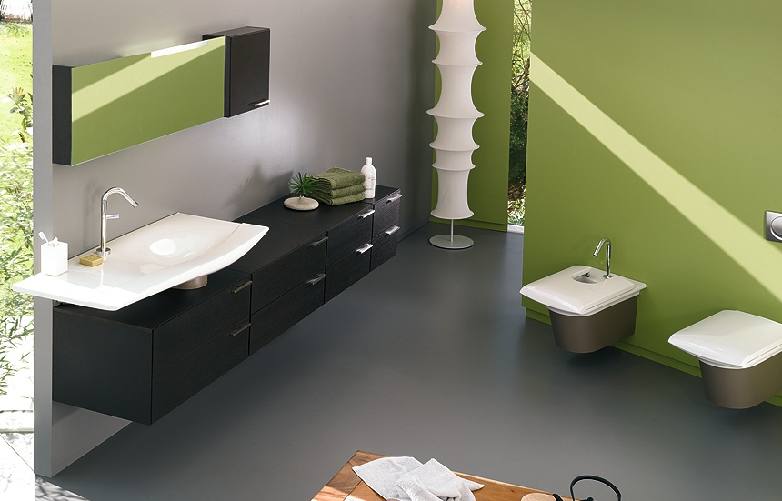 d co salle de bain vert et gris. Black Bedroom Furniture Sets. Home Design Ideas