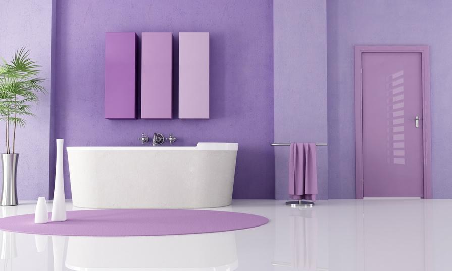 photo déco salle de bain violet