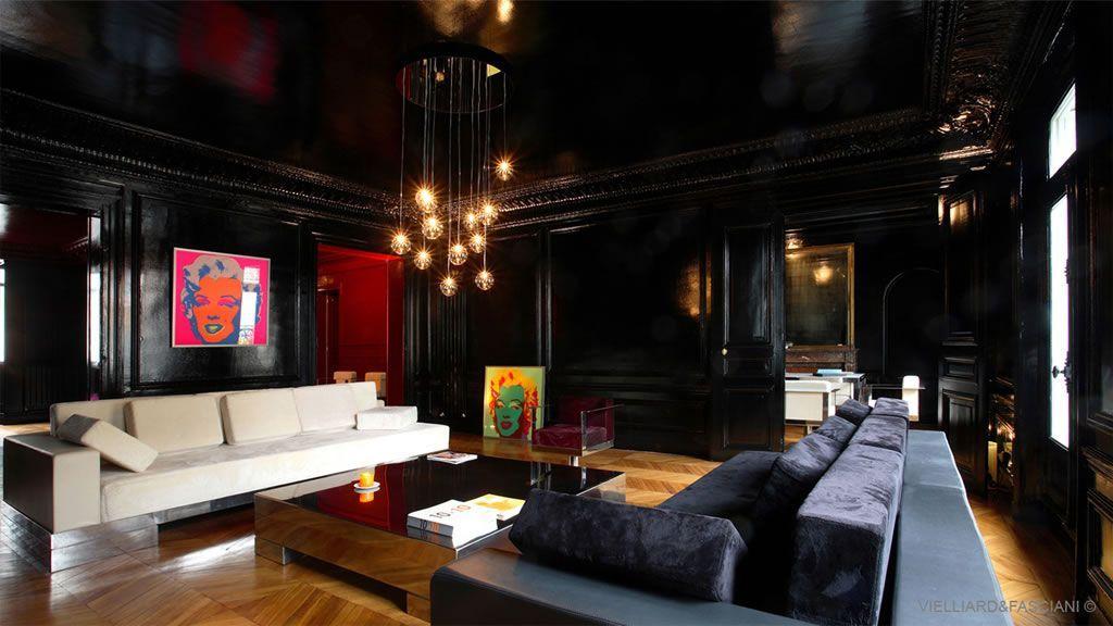 Decoration Salon Noir Gris Rouge