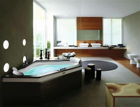 belle décoration salle de bain avec jacuzzi