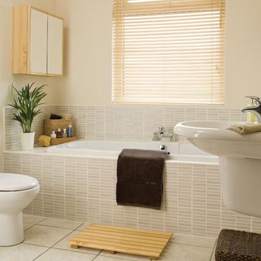 Photo décoration salle de bain beige et marron