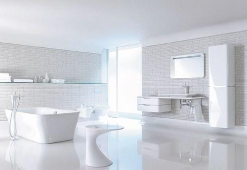 D coration salle de bain blanche for Faience blanche salle de bain