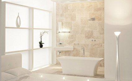 D coration salle de bain blanche for Idee deco salle de bain blanc et beige