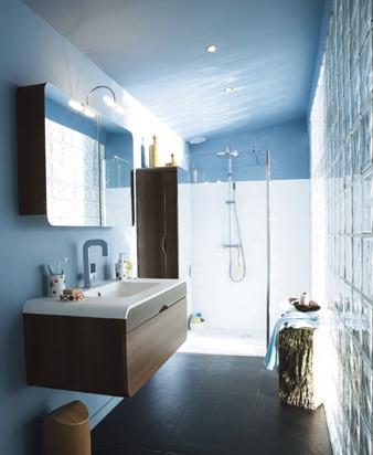 décoration salle de bain bleu et blanc - Salle De Bain Bleu Et Gris