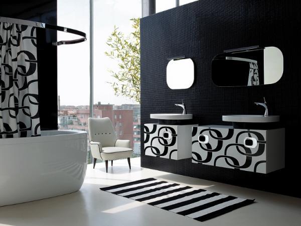 D coration salle de bain noire et blanche - Salle de bains noire et blanche ...