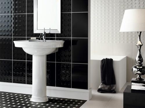 D coration salle de bain noire et blanche - Organisation salle de bain ...