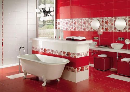 organisation décoration salle de bain rouge et blanc - Salle De Bains Rouge