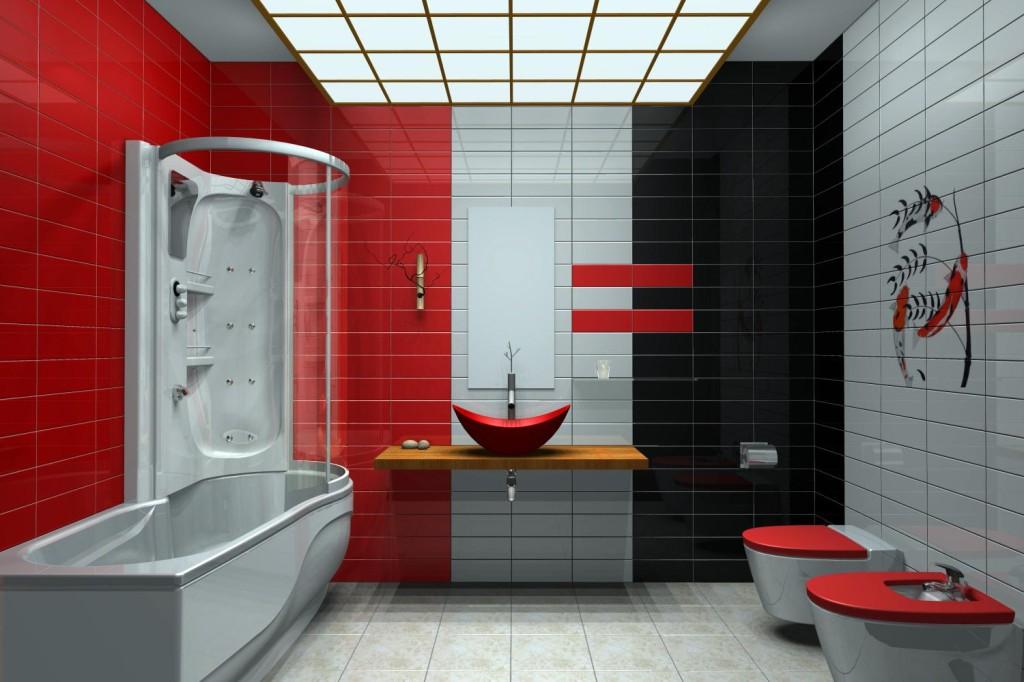 D coration salle de bain rouge et blanc - Salle de bain en rouge et blanc ...