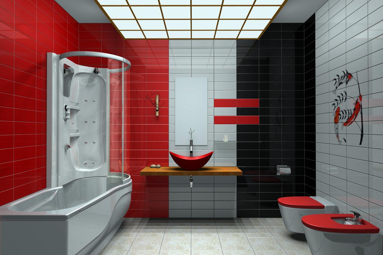 photo dcoration salle de bain rouge et blanc - Salle De Bain Rouge Et Blanc