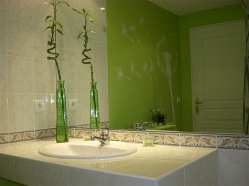 belle décoration salle de bain vert anis