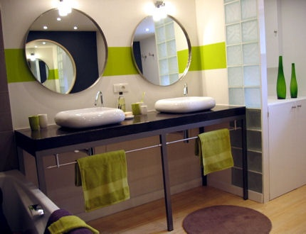 deco salle de bain gris et vert. Black Bedroom Furniture Sets. Home Design Ideas