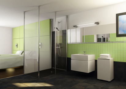 Jolie décoration salle de bain vert anis