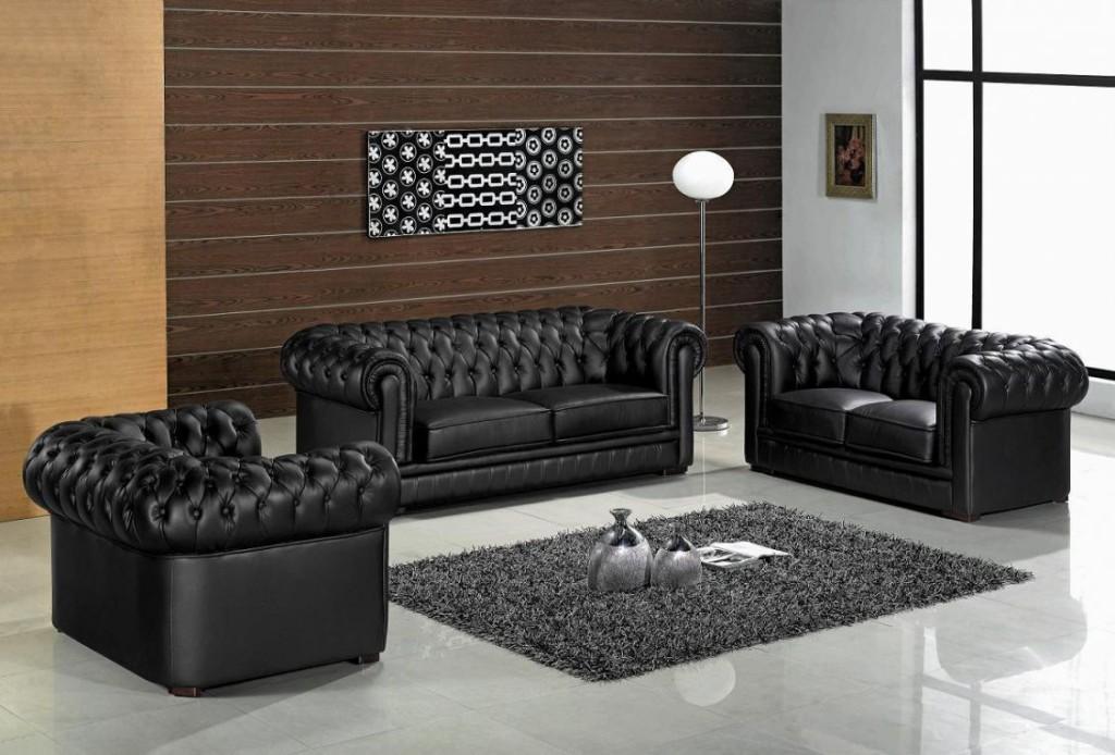 Jolie décoration salon avec canapé noir - Photo Déco