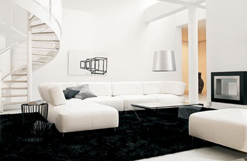 D coration salon design blanc - Salon design noir et blanc ...