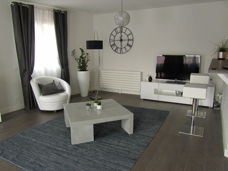 d coration salon noir gris blanc. Black Bedroom Furniture Sets. Home Design Ideas