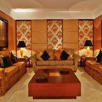 D coration salon orange chocolat for Decoration chambre camaieu orange