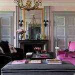 décoration salon rose et gris