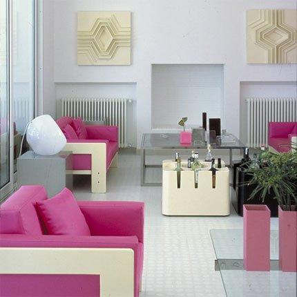 dcoration salon rose et gris