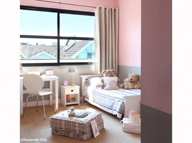 D coration salon rose et gris for Decoration chambre bebe fille rose et gris