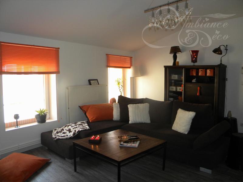 belle décoration salon rouge et marron - Photo Déco