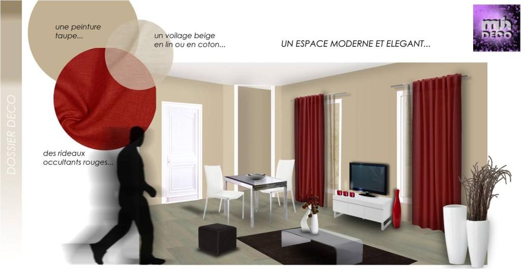exemple décoration salon rouge et marron - Photo Déco