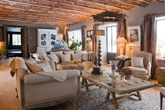 d coration salon rustique. Black Bedroom Furniture Sets. Home Design Ideas