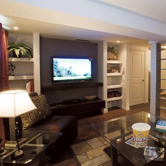 d coration salon sous sol. Black Bedroom Furniture Sets. Home Design Ideas